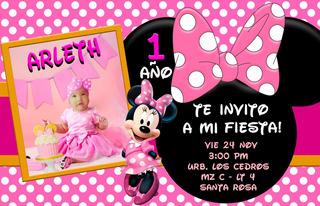 Tarjeta Digital Cumpleaños Minnie Rosada Personalizada