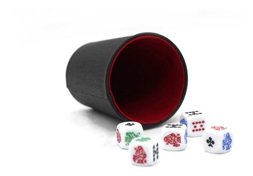 Cacho Yahtzee Juego De Mesa Tatuco Con Paño + 5 Dados Póker