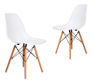 Silla De Comedor Plástico Diseño Dsw Pata Madera - Eames X 2