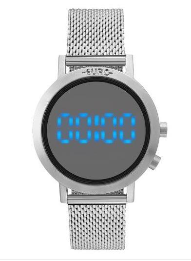 Relógio Euro Prateado Digital Led Feminino Eubj3407ab/3p