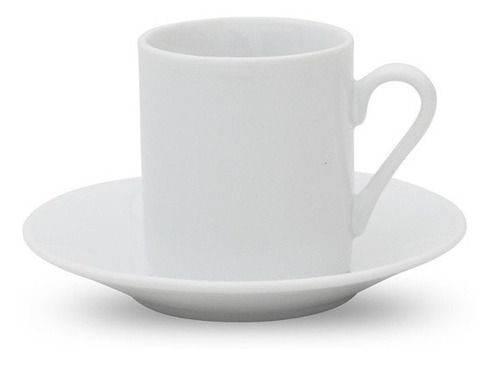 Taza De Cafe 90ml C/plato Porcelana Blanca Selecta