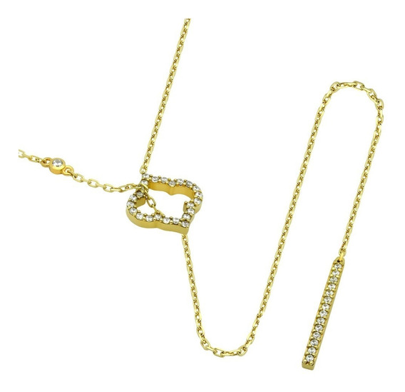 Gold Plated Cz Royal Clover And Bar Lariat Necklace