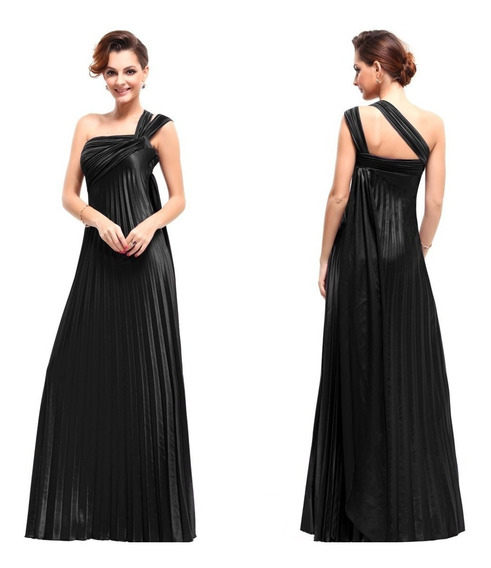 Vestido Fiesta Largo Negro Talles Desde Xs Hasta 7xl