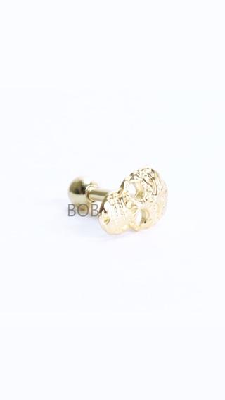 Piercing Tragus Helix Cartilagem Banho A Ouro 18k Caveira