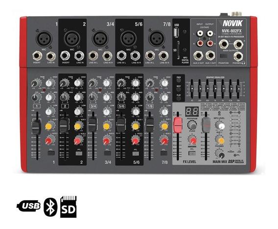 Mixer Mesa De Som 8 Canais Novik Nvk 802 Fx Bt Usb Mp3 220v.