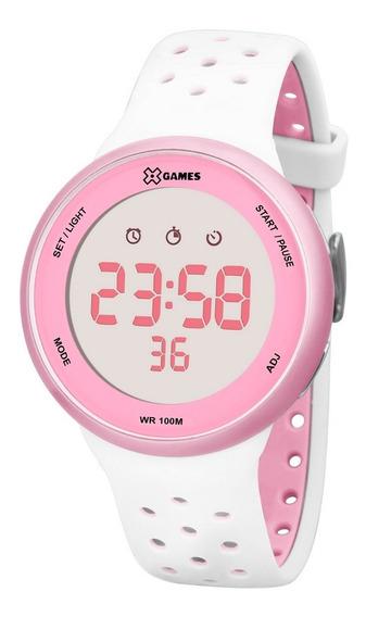 Relógio X-games Feminino Digital Xfppd040 Branco Rosa