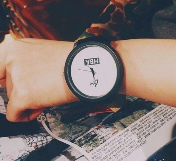 Relógio Masculino Feminino Hba Clot Couro Pronta Entrega