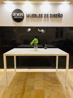 Mesa Comedor De Mármol Carrara Y Hierro Blanco 150 X 85