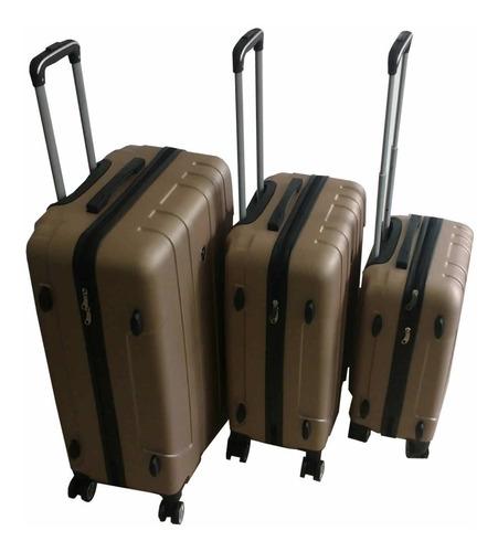 Set 3 Valijas Rigidas Premium De Viaje 8 Ruedas Color Dorado