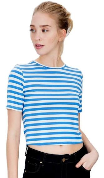 Remera Mujer Ayres Top Cropped Rayas Blanco/azul Basica