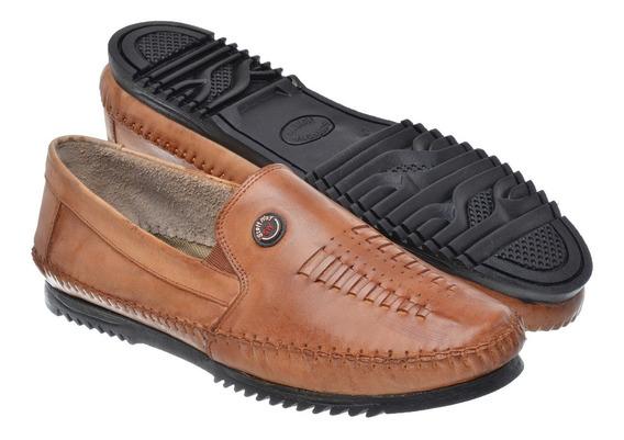 Sapato Masculino Mocassim Sapatilha Couro Legítimo 03 Whisky