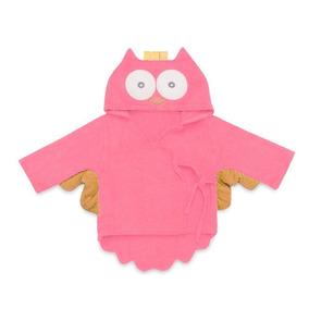 Roupão De Banho Com Capuz Para Bebê Coruja Rosa Claro Multik