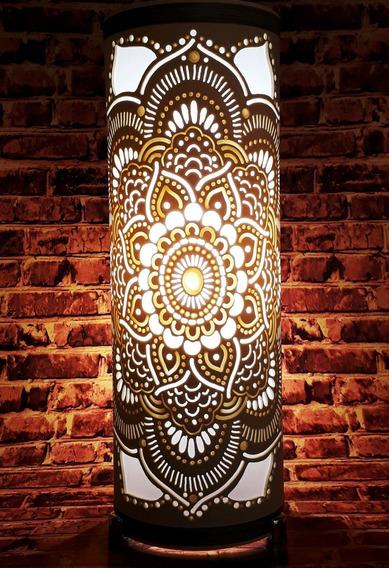 Luminária Abajur Artesanal Em Pvc Mandala 30cm Bivolt