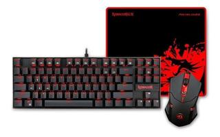 Combo Gamer Kit Redragon Teclado Mecanico Mouse 3200 Dpi Pad