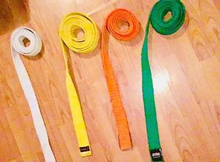 Cintas De Taekwondo Color Blanca, Amarilla, Naranja Y Verde