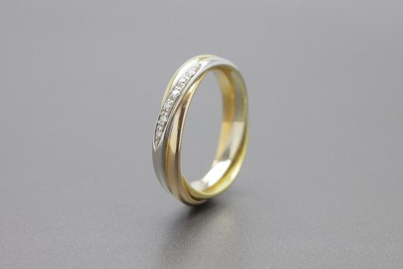 |986| Anel Em Ouro Amarelo, Branco, Rose 18k Com Brilhantes