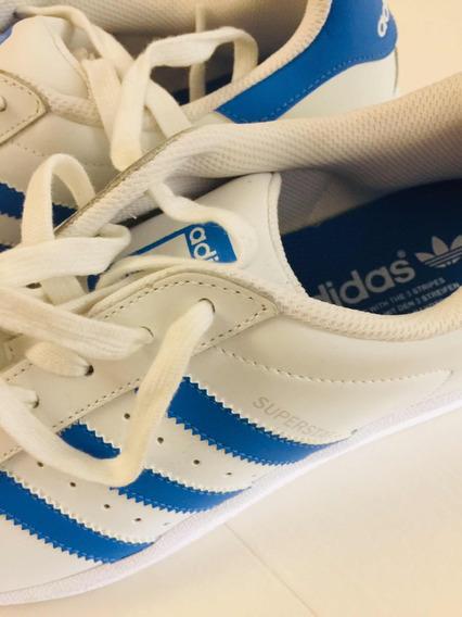 Zapatilla adidas Superstar Cuero Tiras Celestes Originales