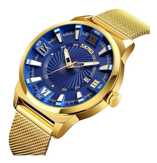 Reloj De Hombre Dorado De Lujo Acero Inoxidable Envío Gratis