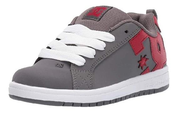 Tenis Dc Shoes Court Graffik Gris/rojo Niño 18mx