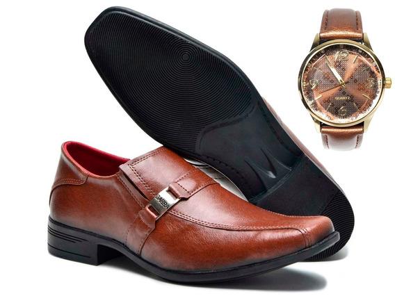 Sapato Social Masculino Couro Legítimo Whisky Mais Relógio