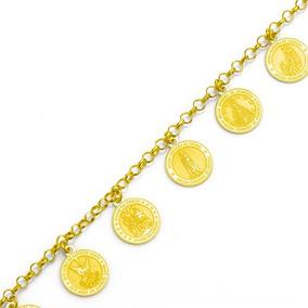 Pulseira De Ouro 18k Com Berloques De Santos 21cm Pu03702