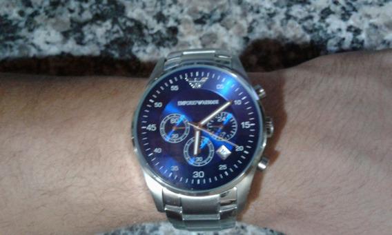 Relógio Masculino Aço Empório Armani C/caixa [dia C/ Defeito