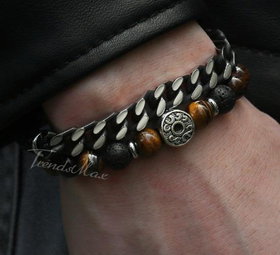 Pulseira Bracelete Couro Olho Do Tigre Natural 55 Mm Inox