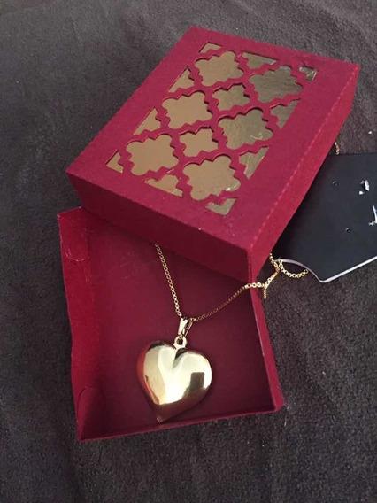 Colar Coração Folheado Ouro 18k E Verniz Antialérgico