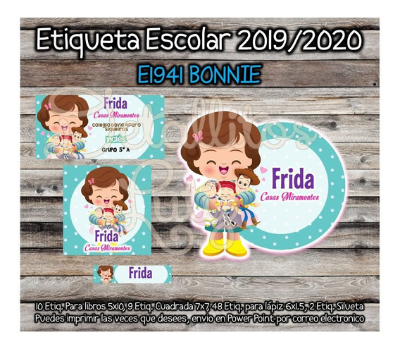 Kit Imprimible Etiqueta Escolar E1941 Bonnie Woody Toy Story