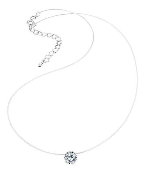 Colar Invisível Com Pingente De Cristal Curto Nk0228