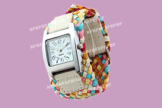 Relógio Feminino Colorido Pulseira Trançada