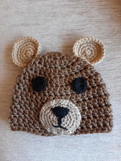 Gorro Tejido Crochet Oso Artesanal Para Bebe