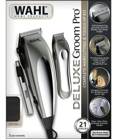 Kit Wahl 3 Máquina De Cortar Cabelo E Barba Deluxe Groom Pro