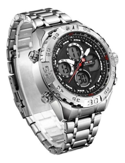 Relógio Weide Aço Inox, Resistente À Água, Completo Wh6909