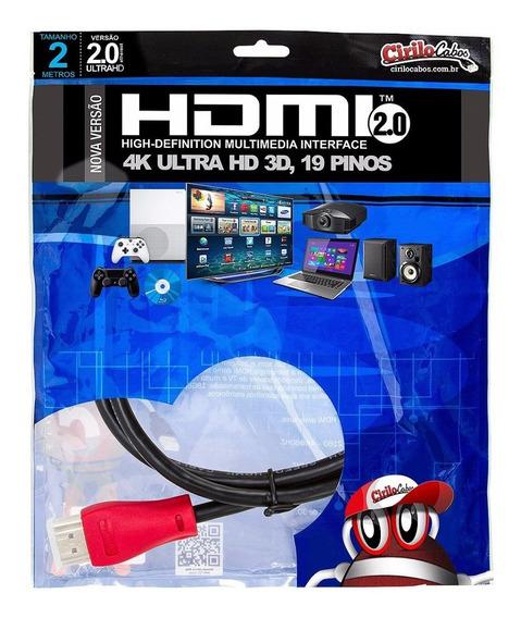 Cabo Hdmi 2.0 4k Ultra Hd 3d 19 Pinos 2 Metros