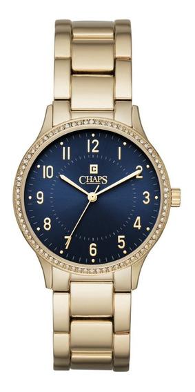 Reloj Dama Chaps Chp3047 Color Dorado De Aleación