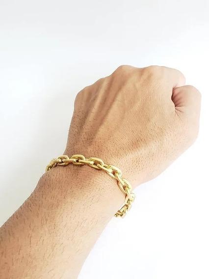 Pulseira Cadeado 8mm Banhado A Ouro 18k Masculina Luxo