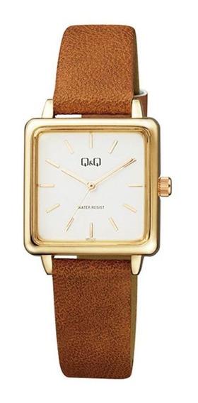 Relógio Q&q Feminino Qb51j111y Social Retangular Dourado