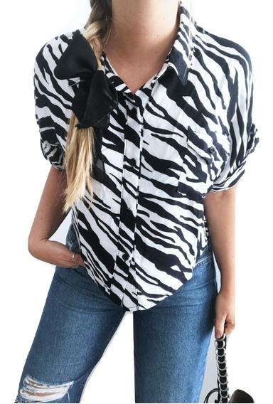 Camisa Manga Corta En Fibrana Estampada, Vimba Store