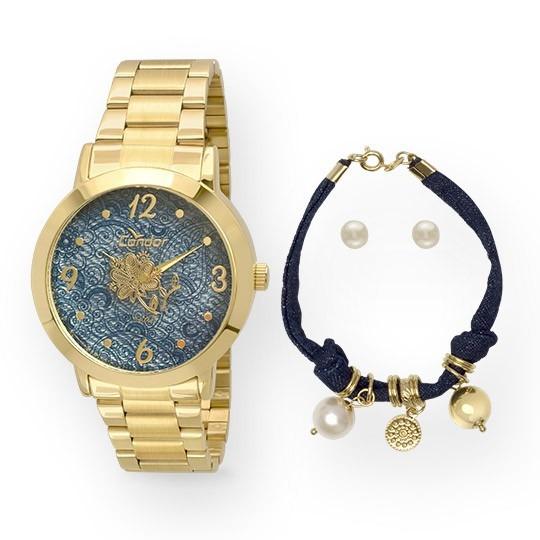 Relógio Feminino Condor Fashion Co2039aa/k4a Dourado Com Kit