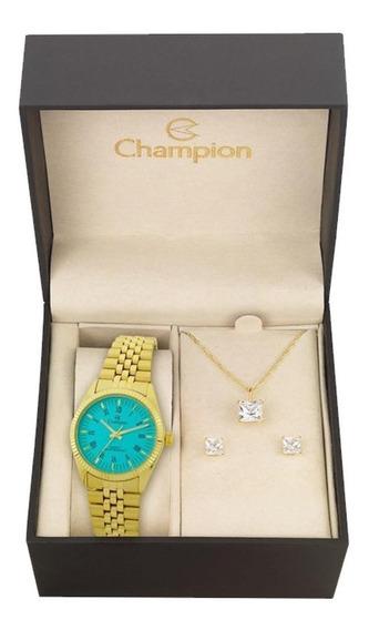 Relógio Champion Ch24777y + Kit De Brincos E Colar