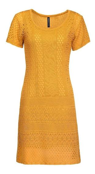 Vestido 12214 Tejido Punt Amarillo Mostaza Rinna Moda Mexica