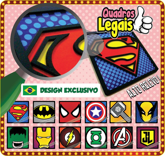 2 Quadro Alto Relevo Super Herois Mario Hulk Coringa Oferta