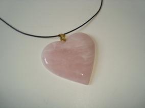 Colar Fio Couro Pingente Coração Quartzo Rosa Dourado 4
