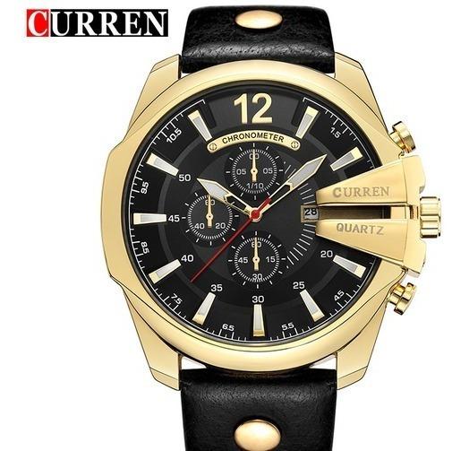 Relógio Masculino Homem Marca Luxuosa Pulseira Couro Curren