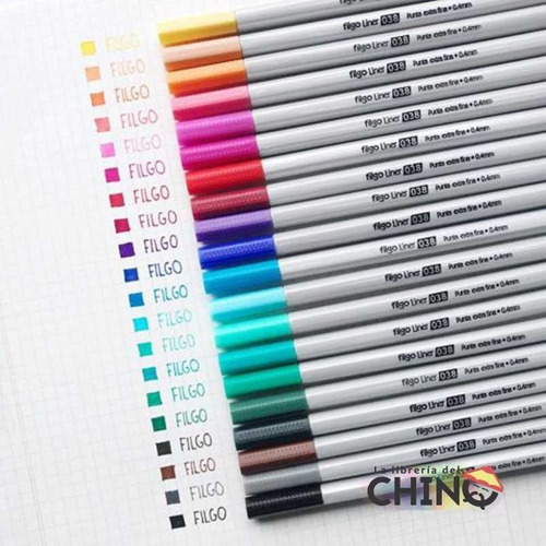 Imagen 1 de 4 de Set X 20 Colores De Microfibras Sueltas Filgo Trazo 0,4mm