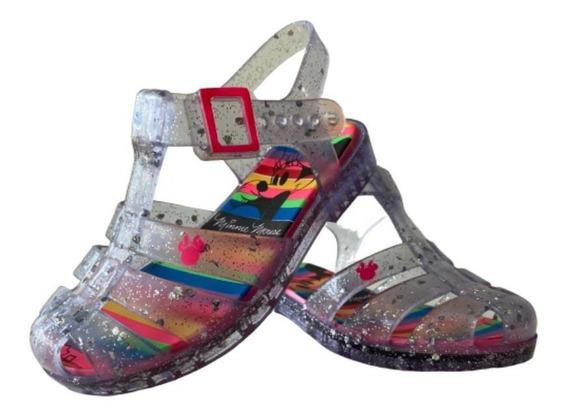 Sandálias Infantil Feminina Disney Brilho Glitter Minnie