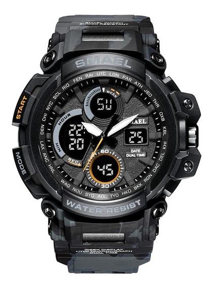 Relógio Masculino Smael Esportivo Militar Camuflado Original