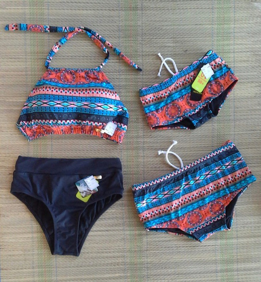 Kit Bikini Crooped Mãe + 3 Sungas (1 Pai 2 Filhos)