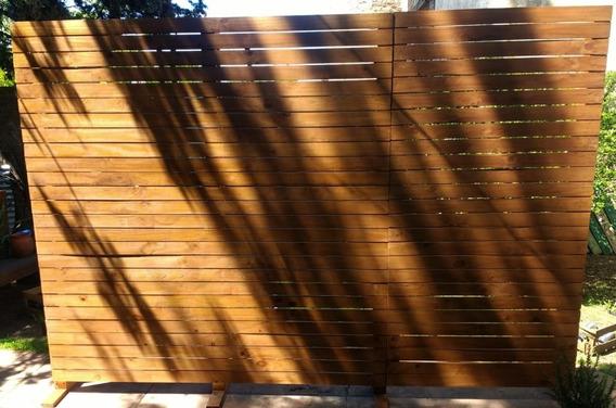 Separador De Ambientes De Madera Con Puerta , Estantes